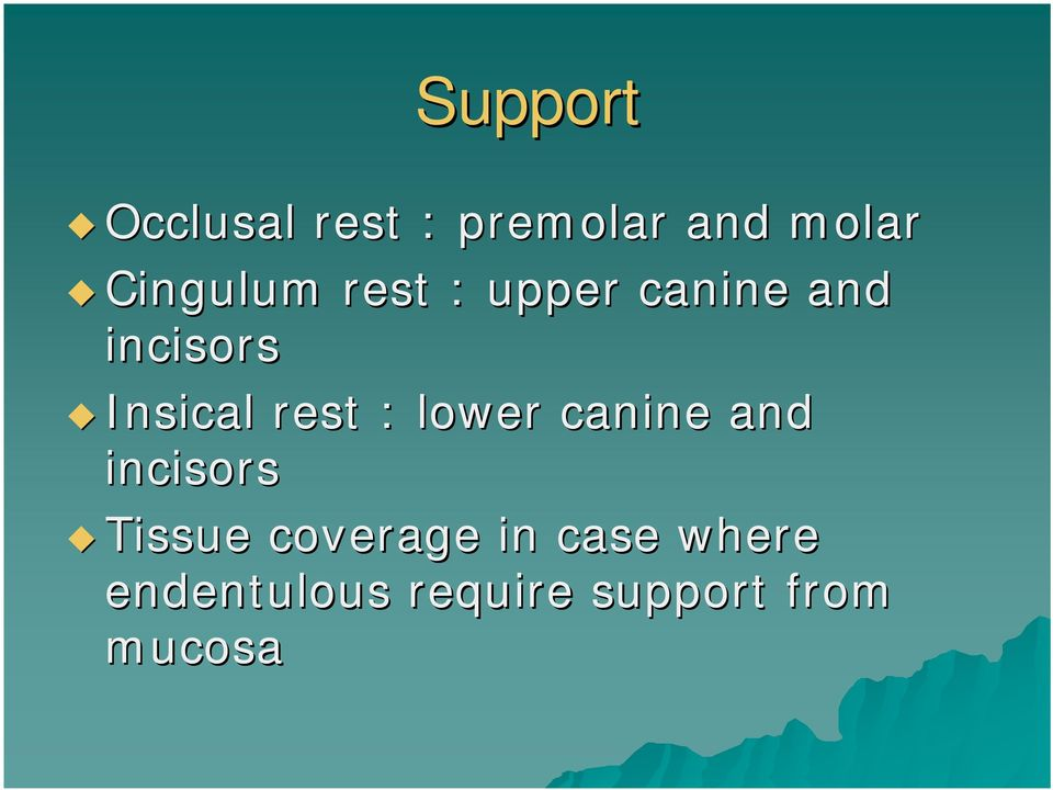 Insical rest : lower canine and incisors Tissue