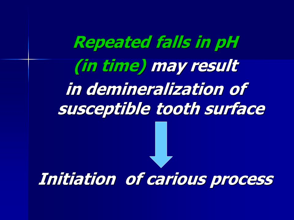 in demineralization of susceptible tooth surface
