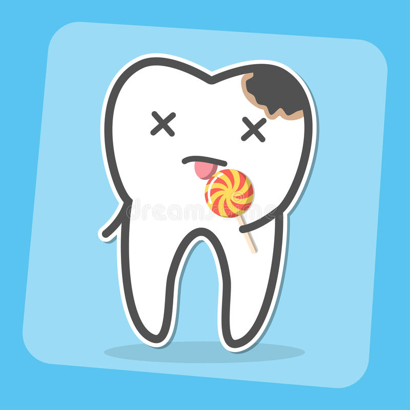 Bad tooth with caries cavity and lollipop. Sweets provoke dental caries concept. Vector illustration royalty free illustration