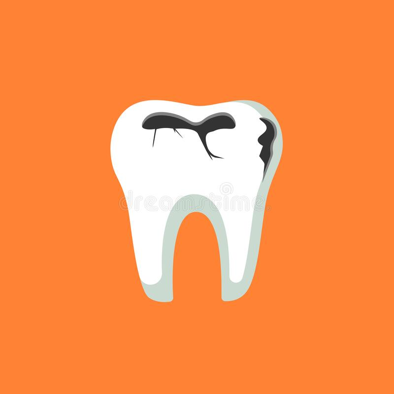 Caries dental problems. Tooth with caries icon. Big hole in the human teeth on isolated background. EPS 10 vector.  royalty free illustration