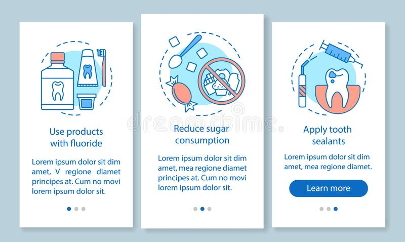 Caries prevention onboarding mobile app page screen with linear concepts. Reduce likelihood of dental disease walkthrough steps graphic instructions. UX, UI royalty free illustration