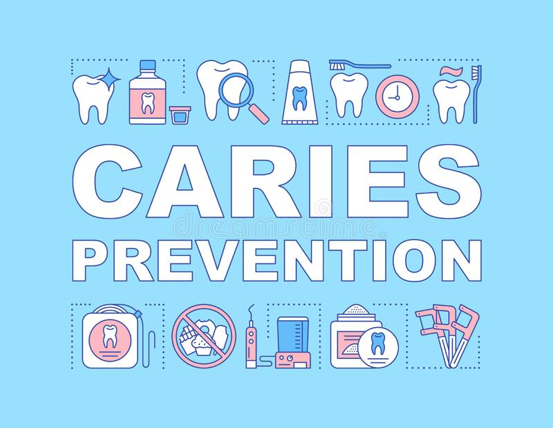 Caries prevention word concepts banner. Oral hygiene routine. Daily teeth care. Plaque removal. Presentation, website. Isolated lettering typography idea with royalty free illustration
