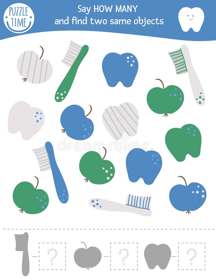 Counting game with dental care symbols. Mouth hygiene math activity for preschool children. How many objects worksheet. Educational riddle with cute funny stock illustration