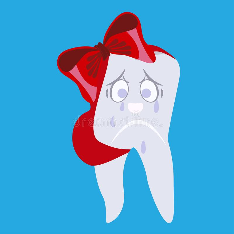 Crying kid tooth with ribbon bandage vector flat illustration. Cute cartoon crying and sad kid tooth having toothache with ribbon bandage. Vector illustration royalty free illustration