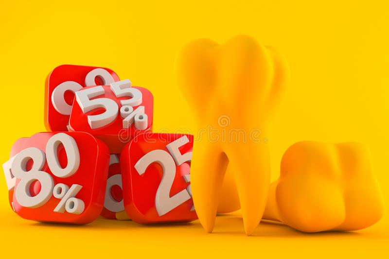 Dental background with percent numbers. In orange color royalty free illustration