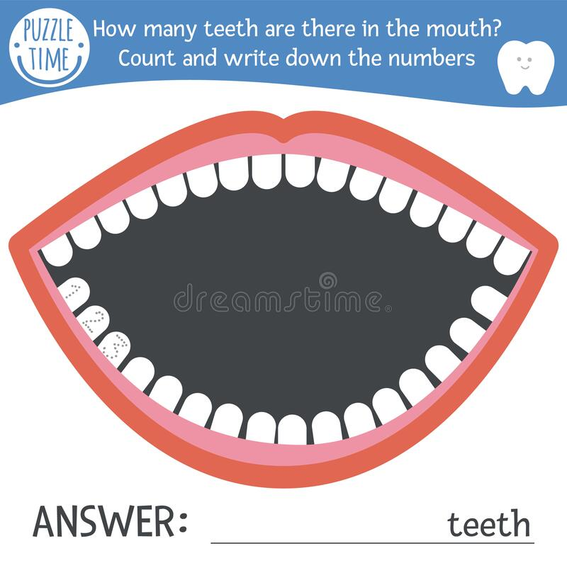 Dental care math game with cute characters. Dentist medicine mathematic maze activity for preschool children. How many teeth in. The mouth. Simple dentist game stock illustration