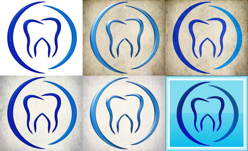 Dental clinic logo with retro background. Tooth in blue illustration on retro background. in different styles on grunge vintage background and white Dental royalty free illustration