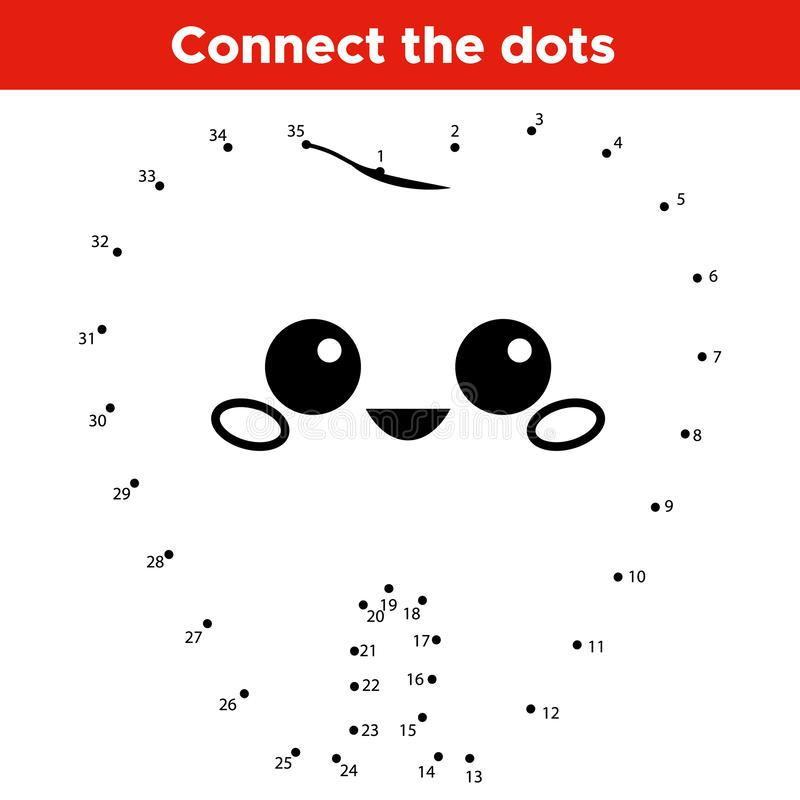 Educational number game for kids. Connect the dots. Learn count. Cu