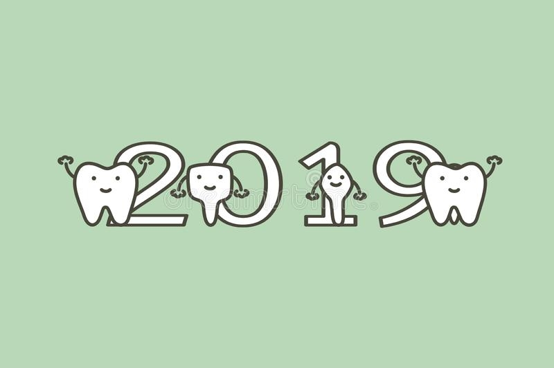 Happy New Year 2019, tooth with number. Dental cartoon vector flat style cute character for design royalty free illustration
