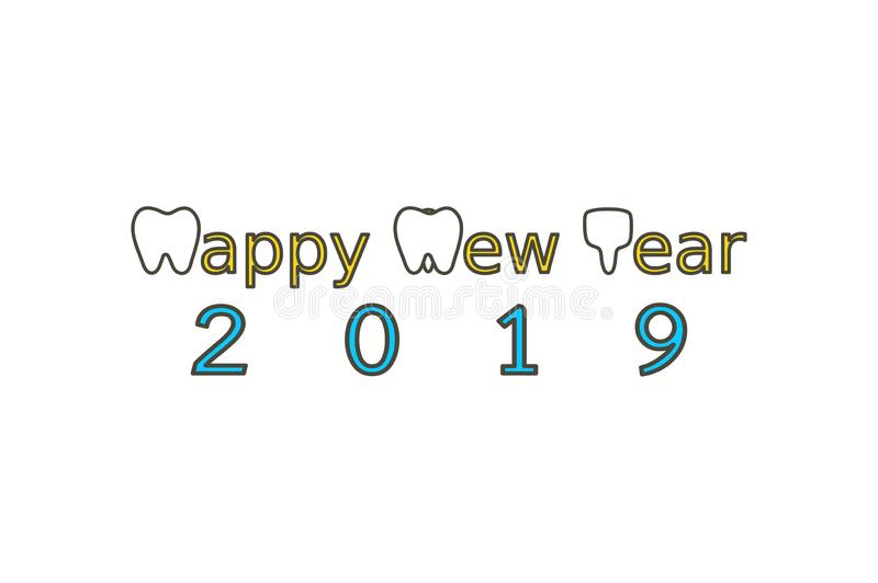 Happy New Year 2019, tooth with number. Dental cartoon vector flat style cute character for design stock illustration