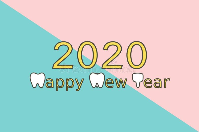 Happy New Year 2020, tooth with number. Dental cartoon vector flat style cute character for design vector illustration