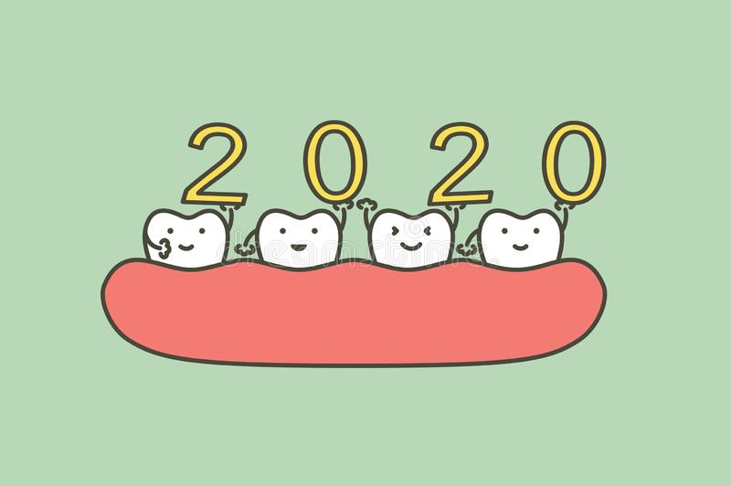 Happy New Year 2020, tooth with number. Dental cartoon vector flat style cute character for design stock illustration
