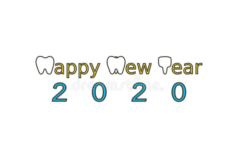 Happy New Year 2020, tooth with number. Dental cartoon vector flat style cute character for design royalty free illustration