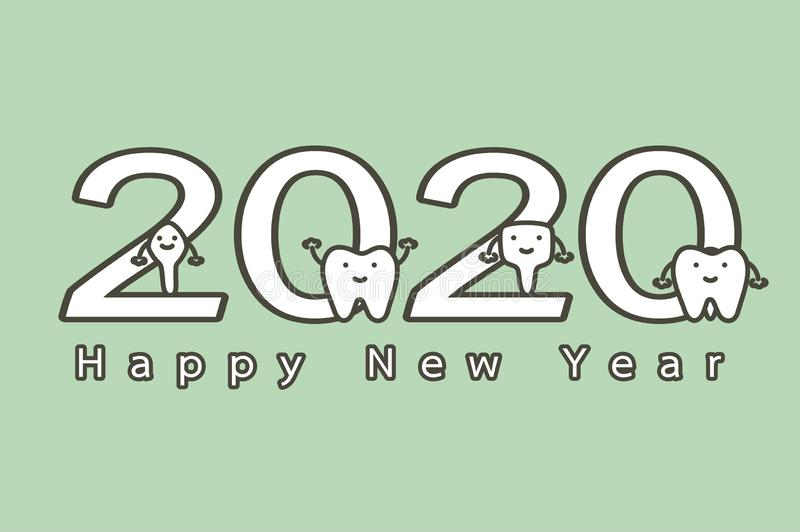 Happy New Year 2020, tooth with number and text. Dental cartoon vector flat style cute character for design vector illustration