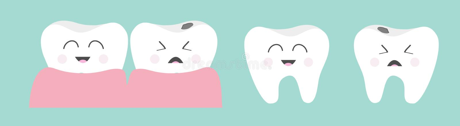 Healthy smiling tooth gum icon set line. Crying bad ill teeth caries care, gum. Cute cartoon kawaii funny baby haracter. Oral. Dental hygiene. Blue background vector illustration