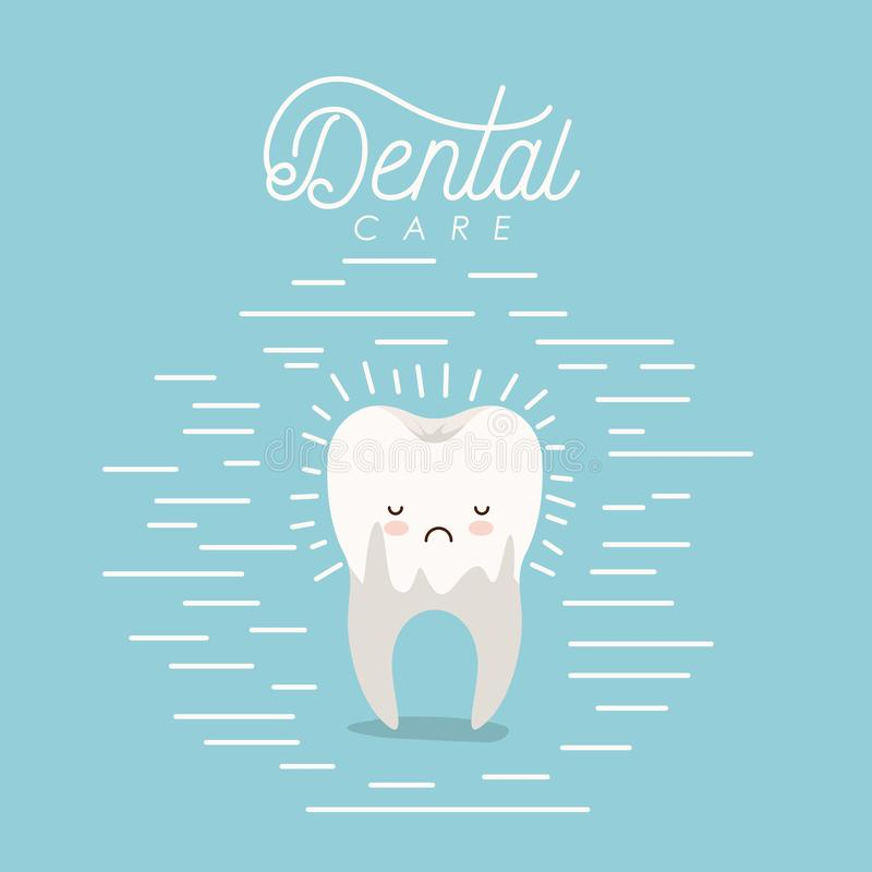 Kawaii caricature dental caries in the root tooth dental care with sad expression on color poster with lines. Vector illustration stock illustration