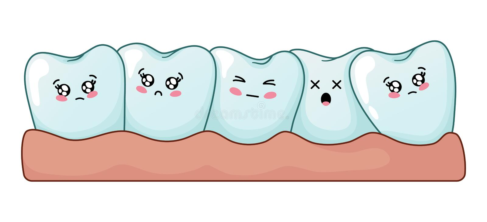 Kawaii dental care. Number of kawaii cartoon teeth together, problem of teeth curvature, sad cute characters on white background, concept of treatment, oral royalty free illustration