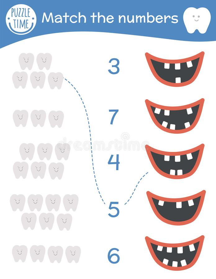 Matching game with teeth and mouth. Dental care math activity for preschool children. Dentist clinic counting worksheet. Educational riddle with cute funny royalty free illustration
