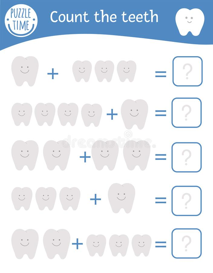 Math game with teeth. Dental care mathematic activity for preschool children. Printable counting worksheet. Educational addition. Riddle with cute funny royalty free illustration