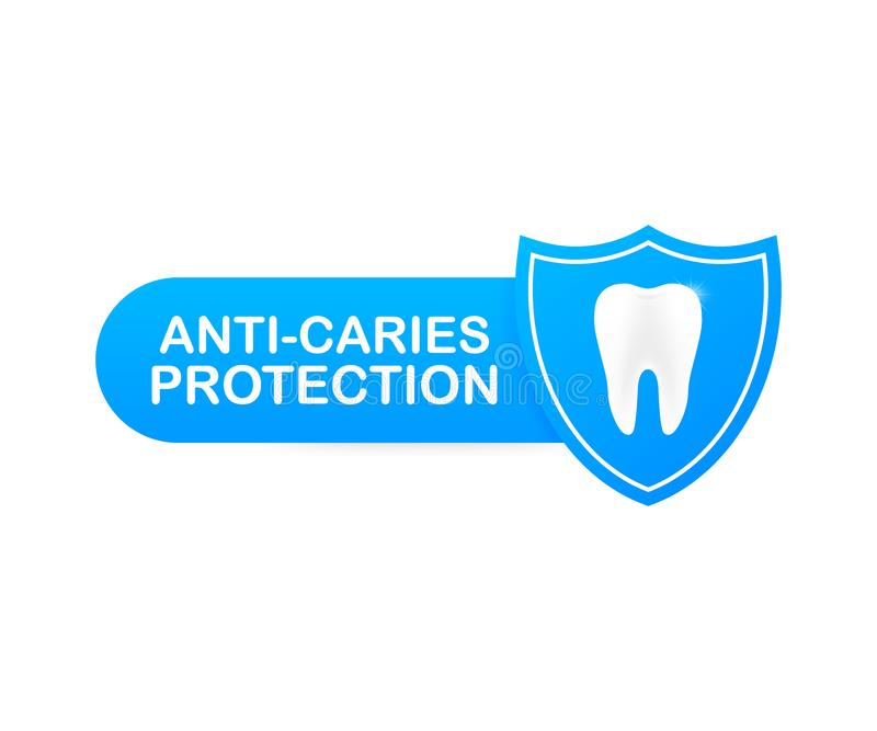 Anti-caries protection. Teeth with shield icon design. Dental care concept. Healthy Teeth. Human Teeth. Vector illustration. Anti-caries protection. Teeth with stock illustration