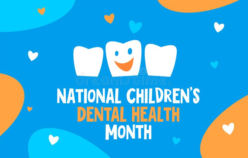 National Children's Dental Health Month vector banner. Protecting teeth and promoting good health, prevention of dental caries. National Children s Dental royalty free illustration