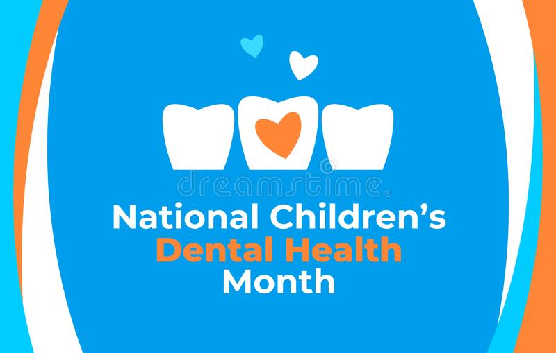 National Childrens Dental Health Month vector banner. Protecting teeth and promoting good health, prevention of dental caries. National Children s Dental Health vector illustration
