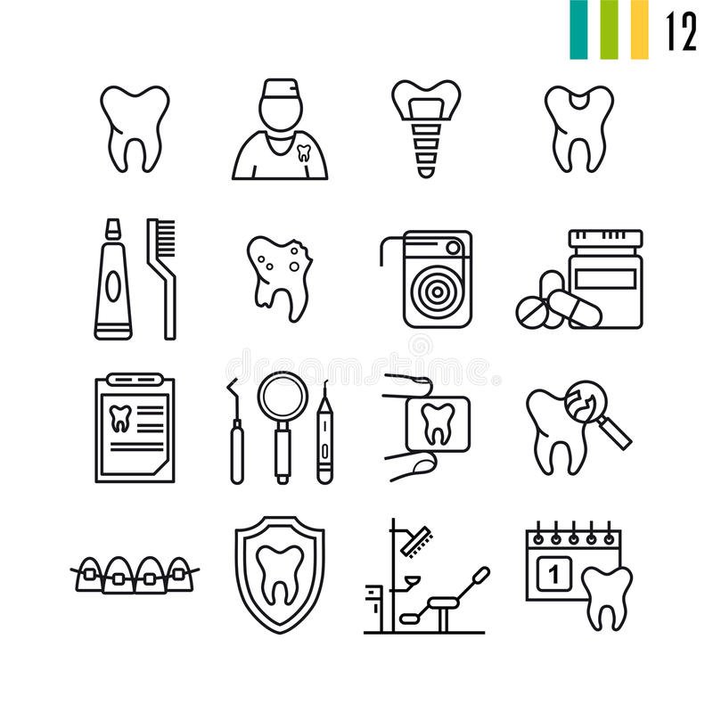 Outline set of dental icons. Outline set of vector set of dental icons. Teeth, tools, treatment, professional health care, orthodontics, implants. Set of symbols stock illustration
