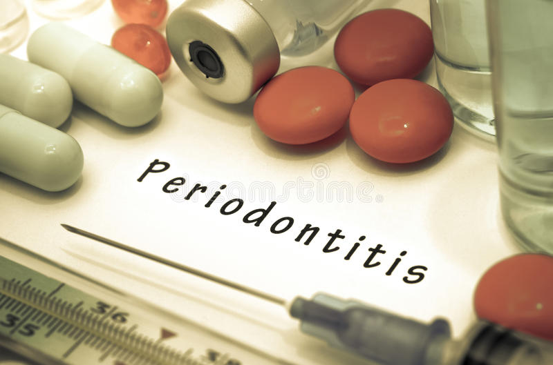 Periodontitis. Diagnosis written on a white piece of paper. Syringe and vaccine with drugs stock photography