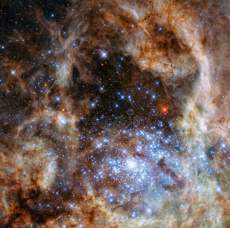 The Tarantula Nebula with R136 in the  Large Magellanic cloud royalty free stock photos