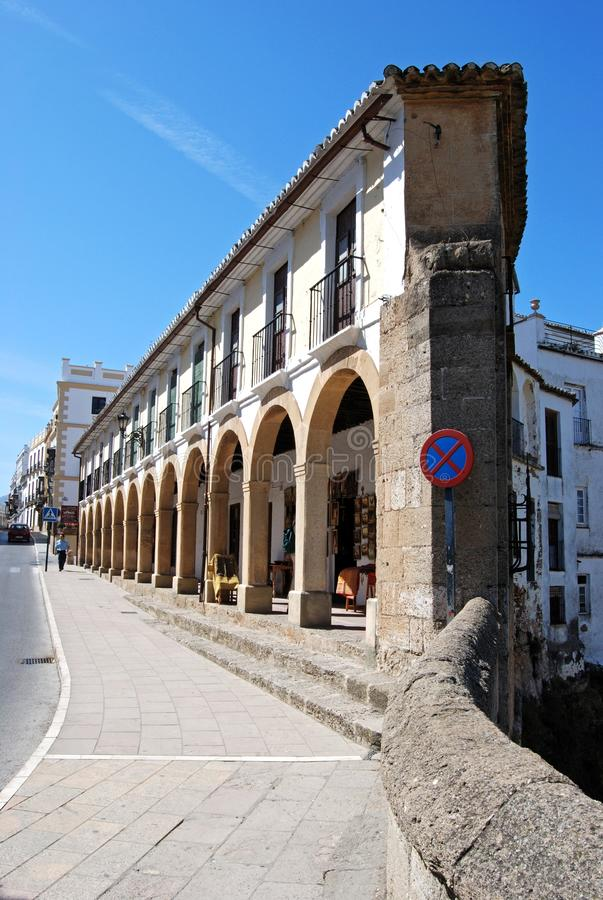 Wedge shaped building by the new bridge, Ronda, Spain. royalty free stock images