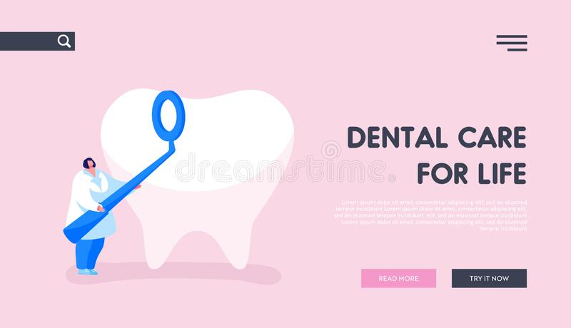 Stomatology Clinic, Dentistry Occupation, Caries Prevention or Treatment Landing Page Template. Tiny Dentist Doctor Character Hold Stomatological Mirror Care vector illustration