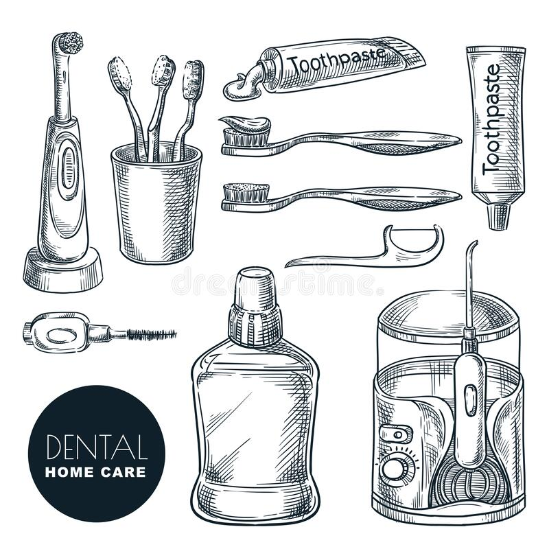 Teeth and mouth home care supplies set. Hand drawn sketch vector illustration. Dental hygiene and prevention of caries. And periodontal disease. Oral treatment royalty free illustration