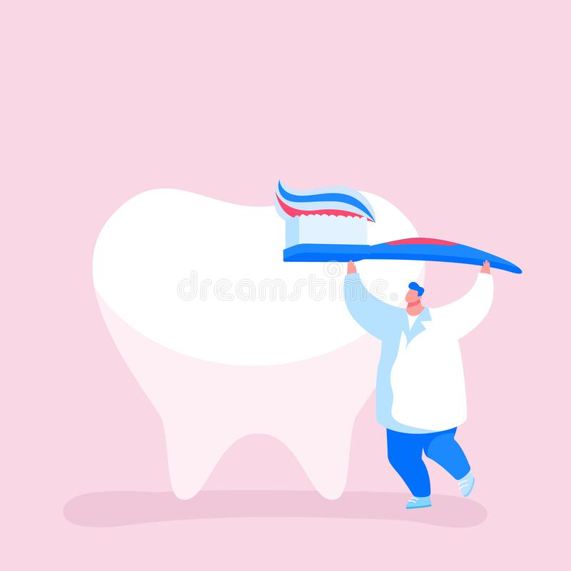 Tiny Dentist Doctor Character Care of Huge Tooth Carry Brush with Toothpaste. Caries Prevention and Treatment. Stomatology Clinic, Dentistry Occupation, Teeth vector illustration