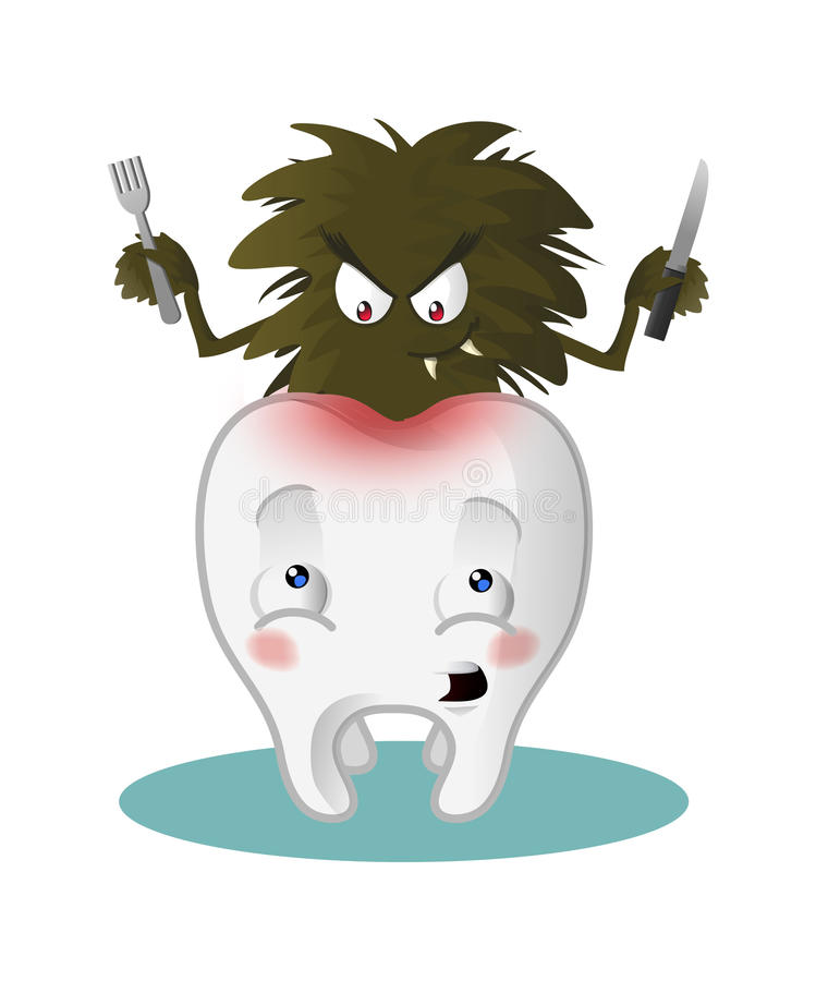 Tooth with caries. Microbe eating a scared tooth royalty free illustration