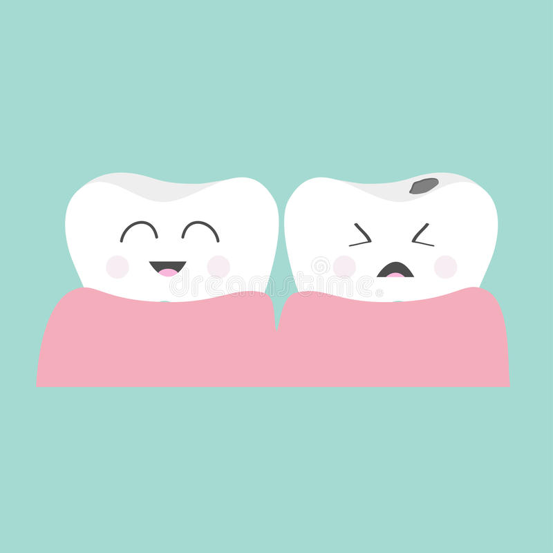 Tooth gum icon. Healthy smiling tooth. Crying bad ill tooth with caries. Cute character set. Oral dental hygiene. Children teeth. Care. Tooth health. Baby stock illustration