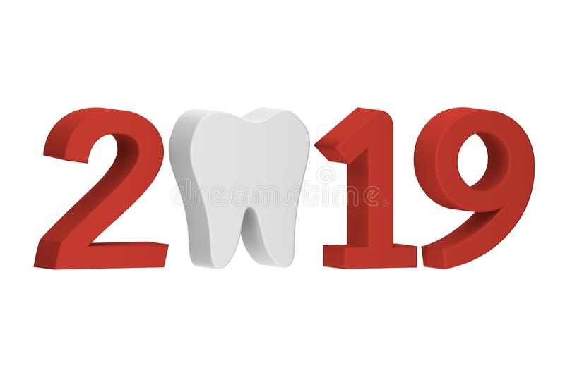 Tooth with numbers isolated on white for Merry Christmas or Happy New Year 2019. Dental care concept - teeth cartoon 3d render flat style cute character for vector illustration