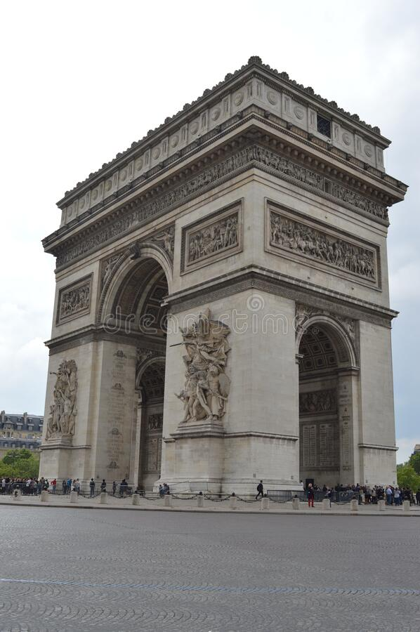 The Triumphal Arch in Paris taken from the lower right corner stock photography