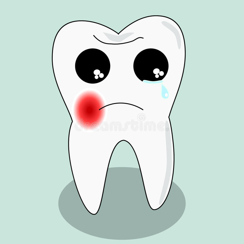 Vector cartoon sick tooth. Decay and destroy tooth. Cute tooth crying. Vector cartoon sick tooth. Decay and destroy tooth. Cute tooth crying becouse of pain stock illustration