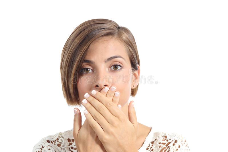 Woman covering her mouth because bad breath royalty free stock photography