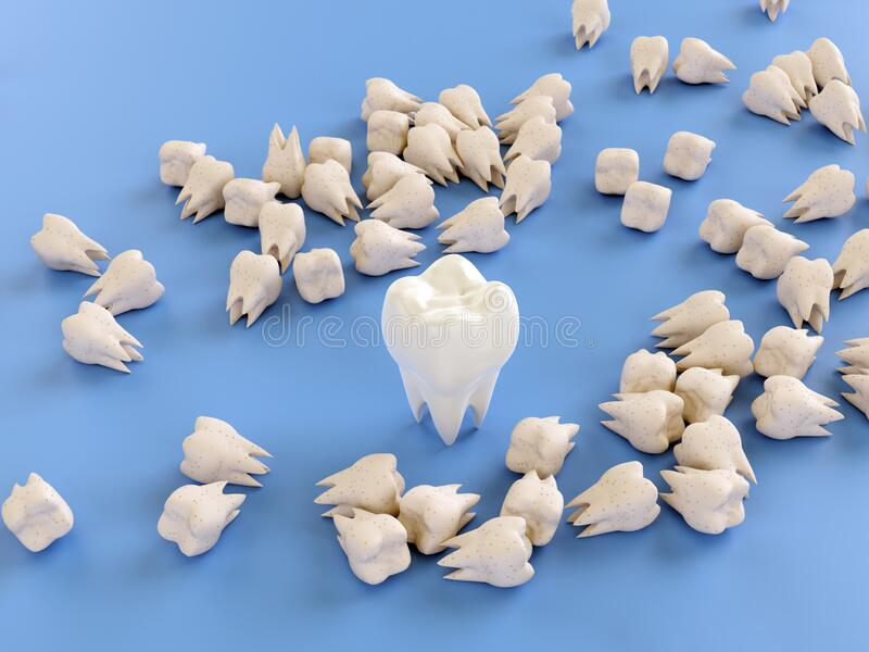 Yellow teeth in caries. 3d illustration royalty free illustration