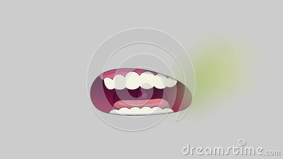 Bad breath or Halitosis, The concept with healthcare gums and teeth. On the gray background royalty free illustration