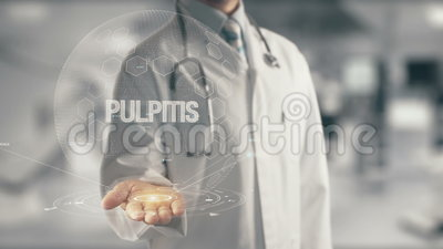 Doctor holding in hand Pulpitis. Concept of application new technology in future medicine stock footage