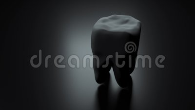 Tooth on black background. Loop. Isolated. Animation medical concept. 3d render. Tooth on white background. Loop. Isolated. Animation medical concept. Caries stock illustration
